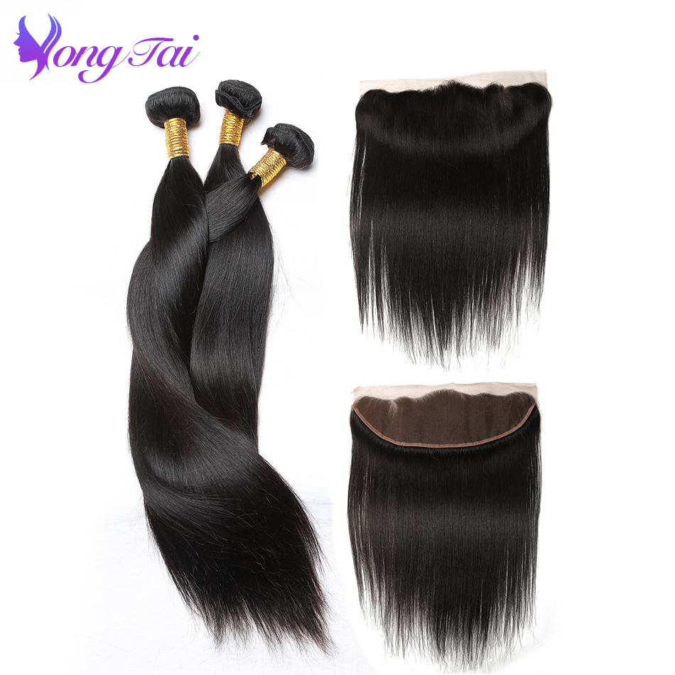 Yuyongtai Straight Hair 3 Bundles with 1 Closure Malaysian Non remy Hair With Lace Frontal 13