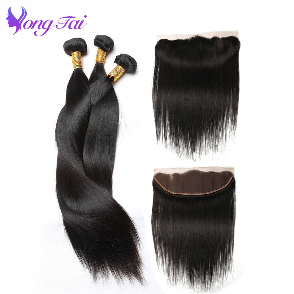 Yuyongtai Straight Hair 3 Bundles with 1 Closure Malaysian Non remy  Hair With Lace Frontal 13*4 Free Shipping