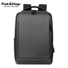 Pat&hap High Quality Oxford 15.6 Laptop Men Backpack Simple Fashion Business Travel Work Back Pack School Bags USB Chargeing