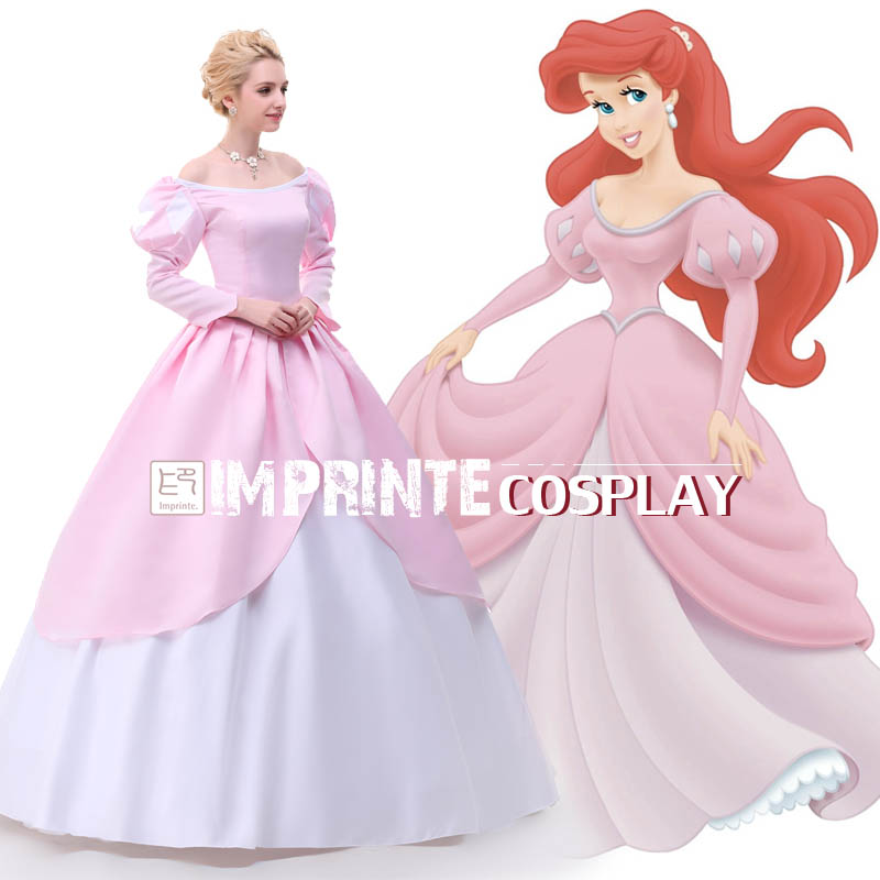 Pink Ball Gown Adult Princess Ariel Dress Cosplay Costume The Little ...