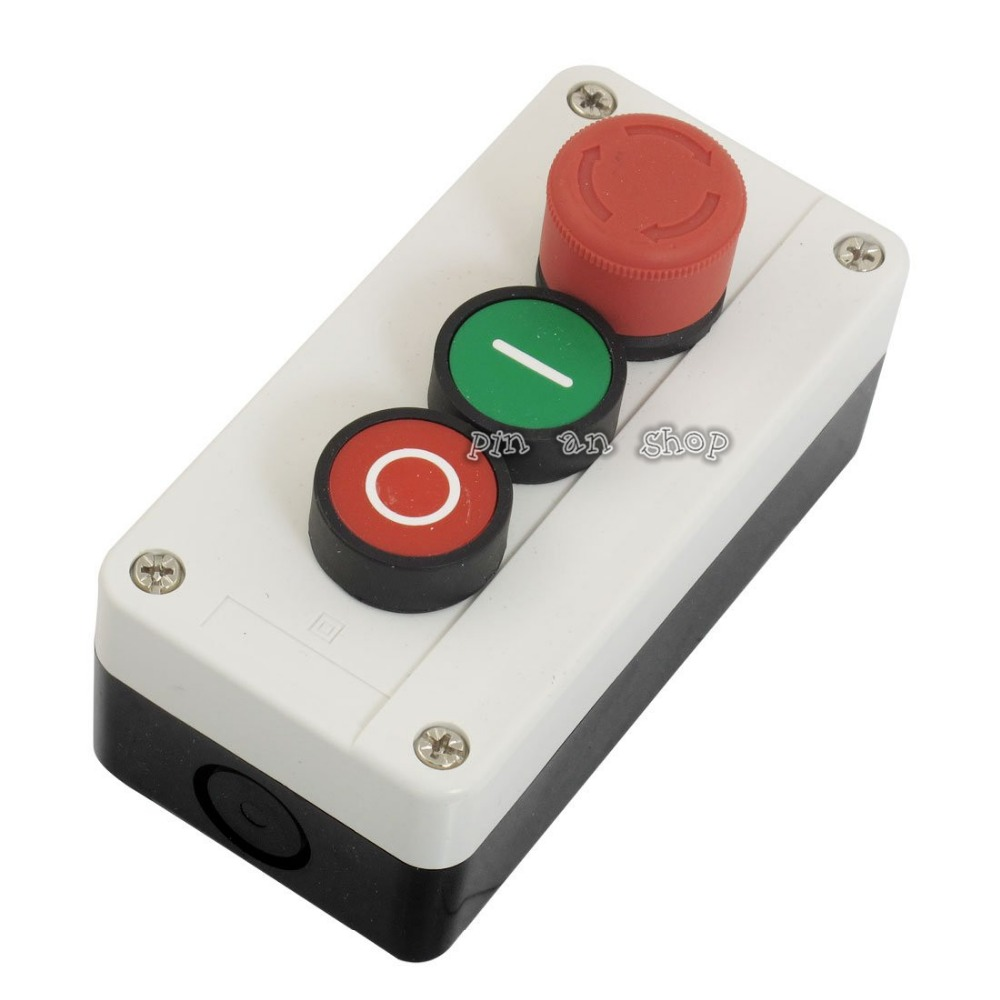 цена на NC Emergency Stop NO Red Green Push Button Switch Station 600V 10A
