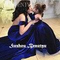 Veludo Azul Royal Puffy Flower Girl Vestidos Para Casamentos Halter Backless Organza Borda Crianças Pageant vestido de Baile 2016 Vestidos de Baile