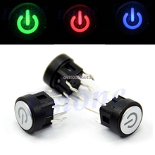 Push Button Switch Led Light Power Symbol Push Button Momentary Latching Computer Case Switch 3Colo
