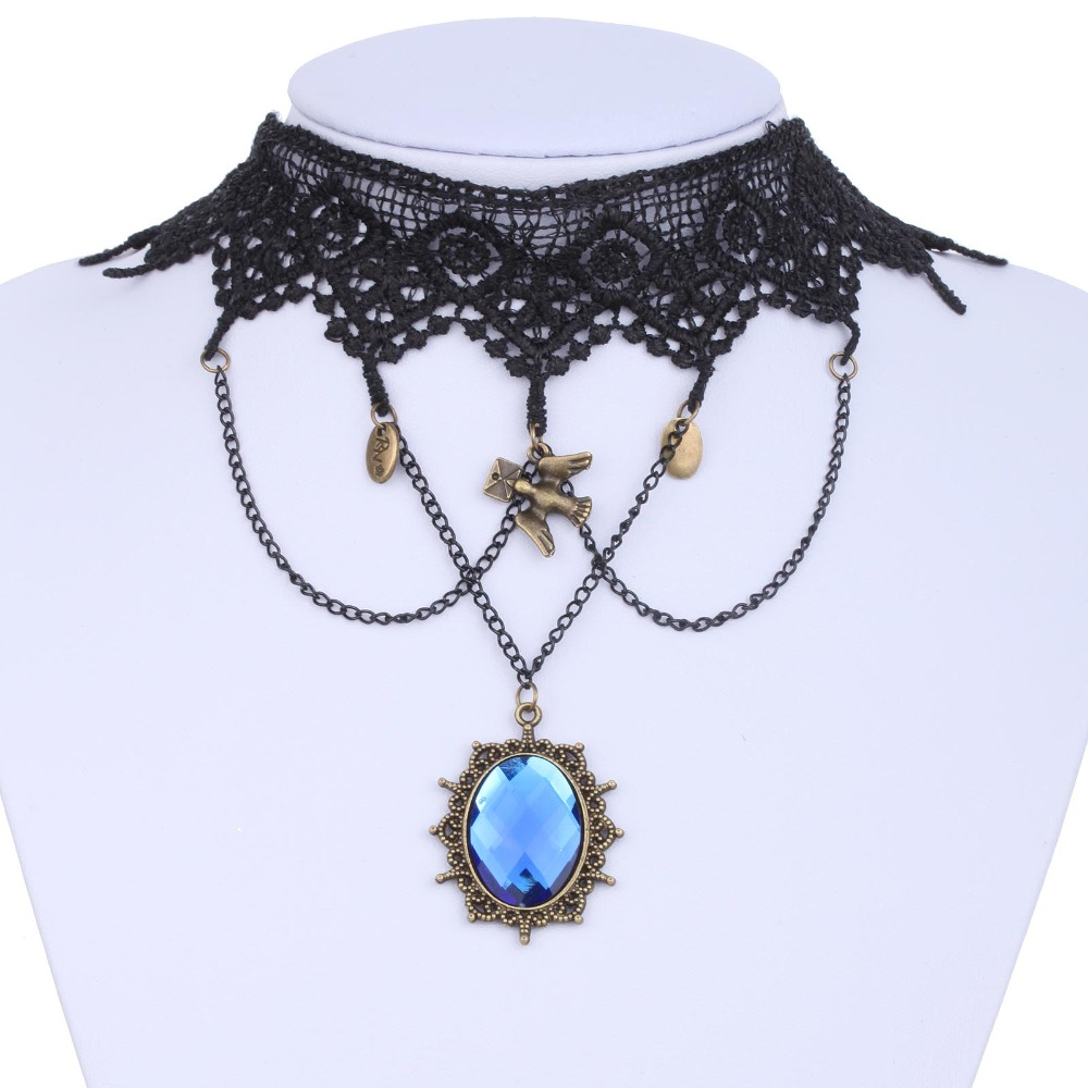 Black Lace Choker Victorian Gothic Collar Necklace Blue Pendant Jewelry