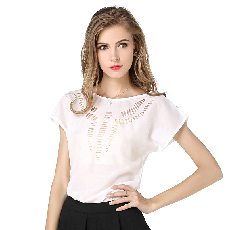 Hotsale Fashion Women Tops Blouse Summer Carved Hollow Short Sleeved Chiffon Blouse Leisure Chiffon Shirts 8 colors  5 Size