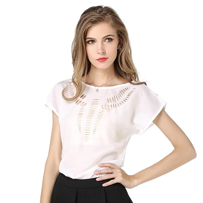 Hotsale Fashion Women Tops վերնաշապիկով Ամառային փորագրված փեղկ կարճ վերնաշապիկ շիֆոն բլուզ Ժամանցի շիֆոն վերնաշապիկներ 8 գույներ 5 Չափ