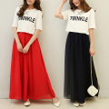 Spring Summer Skirts Elegant High Waist Chiffon Long Design Pleated Skirt Women Clothing Female Puff Skirt Wholesale
