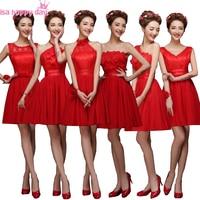 cheap red chiffon spring formal corset modest bridesmaids gowns short bridesmaid dress for girls wedding guest under 50 H4235