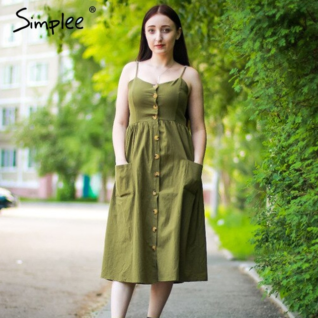 Simplee Elegant button women dress Pocket polka dots yellow cotton midi dress Summer casual female plus size lady beach vestidos 3
