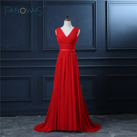 Real Sample Sleeveless Red Long Sweep Train Latest Design Formal Evening Gown Occasion Dresses Plus Size