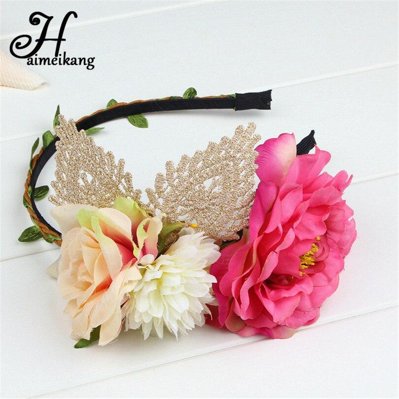 Haimeikang Flower Headband Wedding Hair Accessories For Women Gum Hair Female Plastic Fabric Flower Hair Band Hair Ornaments