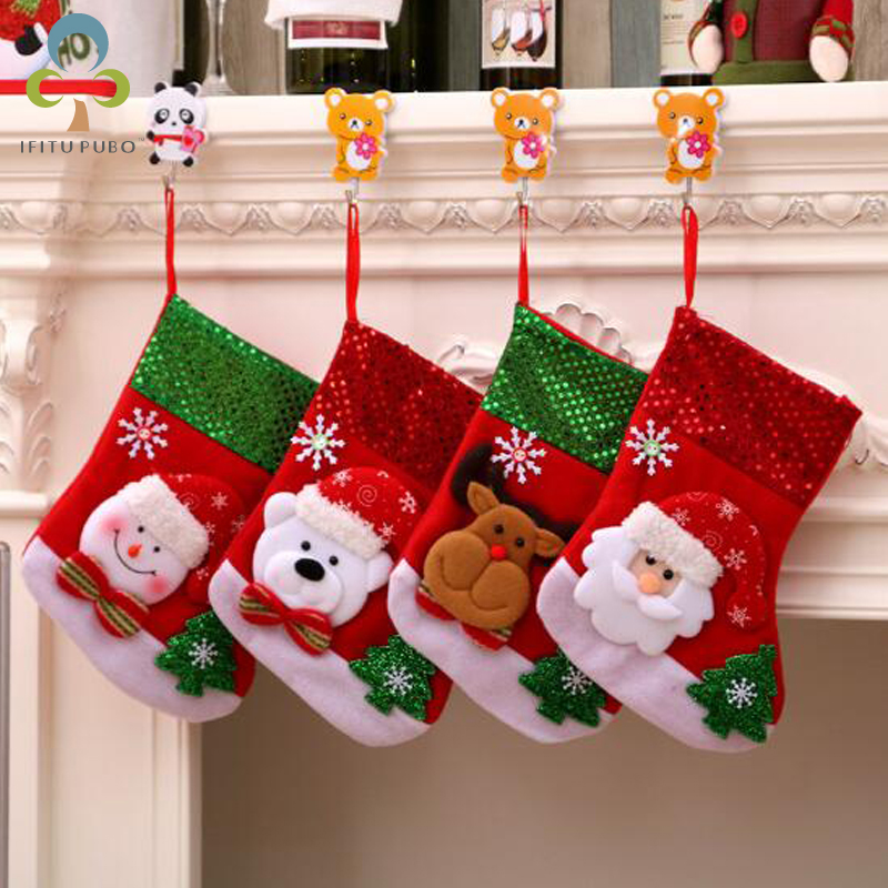 US $1.8 35% OFF Cristmas gift santa Sacks Socks Children\'s christmas  Presents Christmas Decorations for Home Party christmas stockings LYQ-in ...