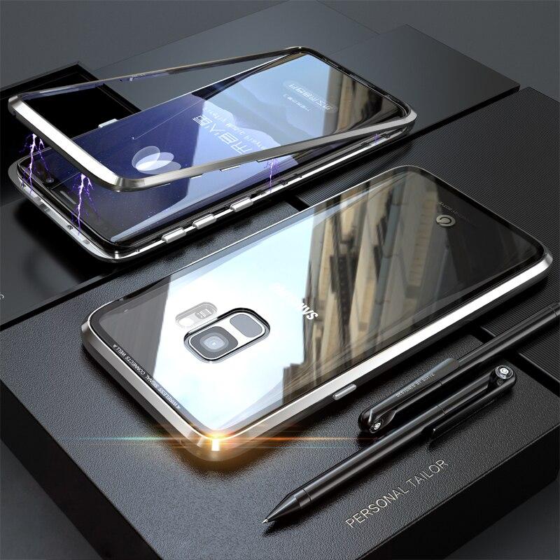 Magneto Magnetische Adsorption metall fall für Samsung Galaxy S8 Plus fall luxus gehärtetem glas abdeckung für Samsung Galaxy S8 S9 plus