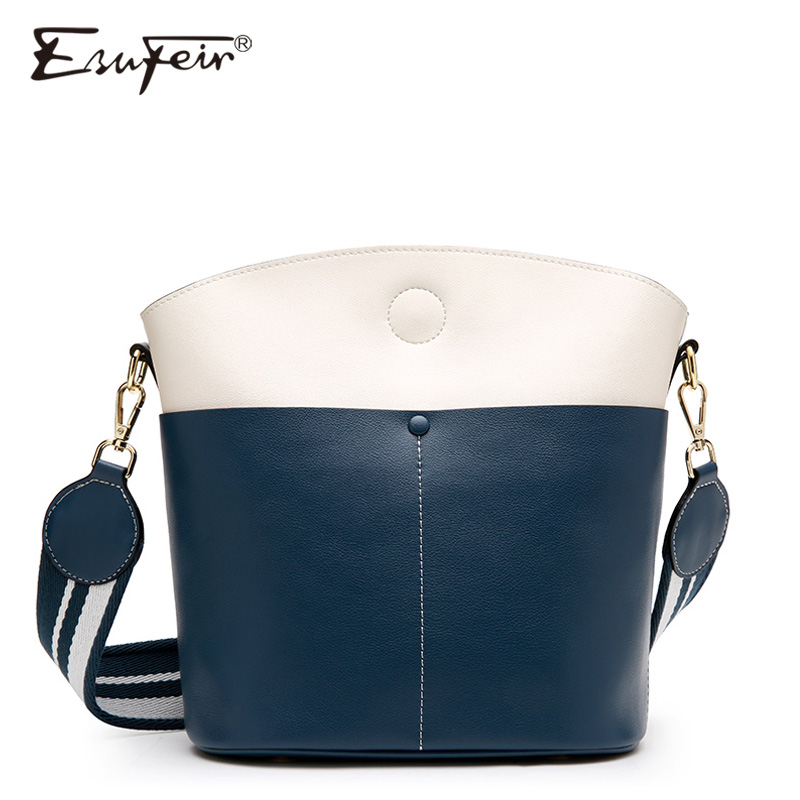 ESUFEIR Panelled Genuine Leather Women Messenger Bag Fashion Design Shoulder Bag Female Bucket Bag Brand Women Crossbody Bags ...