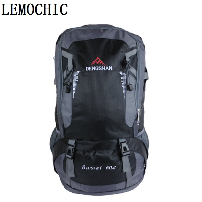 ФОТО Extra large capacity backpack male backpack 60L travel bag female mountaineering High quality outdoor waterproof luggage bag