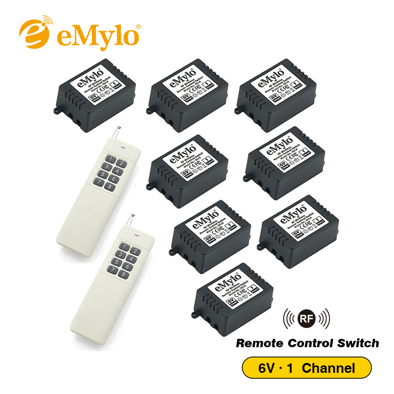 eMylo DC5V/ 6V Smart Switch Wireless RF Remote Control Switch Light Lamp Switch 433Mhz White Long Transmitter 8X 1Channel Relays emylo 4x 220v 1000w 1channel 433mhz wireless rf realy remote control switch receiver with transmitter