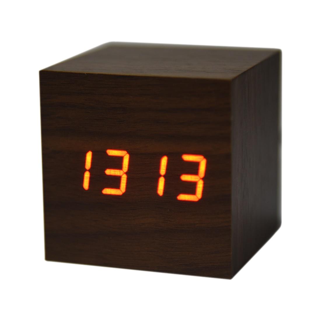 3 x AAA USB Powered Mini Wooden Clock LED Digital Desktop Alarm Clock Brown