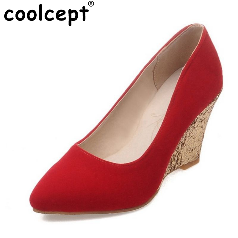 fashion pointed toe shoes women bling wedges pumps high heel party footwear shallow mouth heeled shoes size 31-43 PB00009