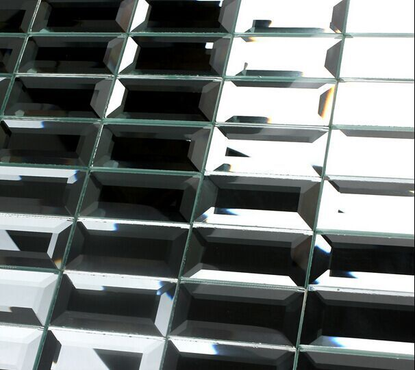 30x60mm strip brick pattern mirrored glass mosaic tiles