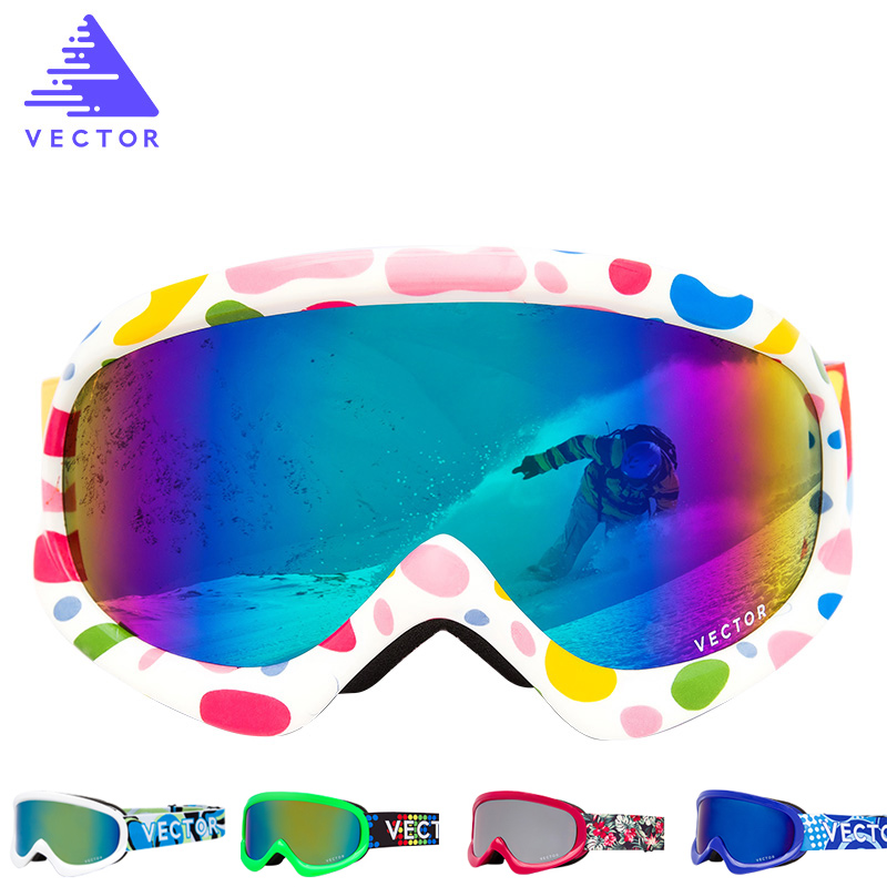 Children Ski Goggles Double Lens Girls Boys Skiing Snowboard Glasses Kids Winter Snow Child Eyewear UV400 Anti-fog HXJ200