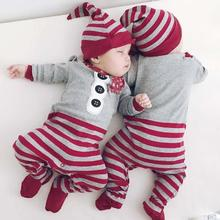 Baby Boys Long Sleeve romper Cotton Cute Romper Striped Hat Outfits Clothes Christmas Baby Boy Girl Clothing Santa Jumpsuit WD2