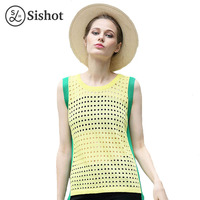 Sishot Women Tan Tops 2017 Summer Straight Hollow Yellow Green O Neck Color Block Patchwork Round