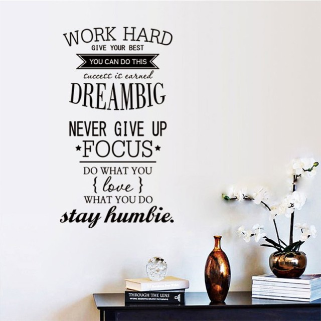 High Quality 4 Size Wall Decals Quotes Work Hard Vinyl Wall Sticker Letras Decorativas  Office Home Decoration Wall