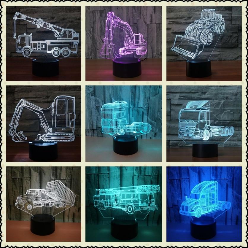 recipiente carro 3d estereo candeeiros de mesa quarto lampada de mesa lampada led criativo 3d para