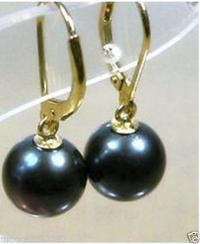 PERFECT ROUND BLACK 10-11MM AAA SOUTH SEA PEARL DANGLE EARRING 14k/20 YELLOW GOLDPERFECT ROUND BLACK 10-11MM AAA SOUTH SEA PEARL DANGLE EARRING 14k/20 YELLOW GOLD