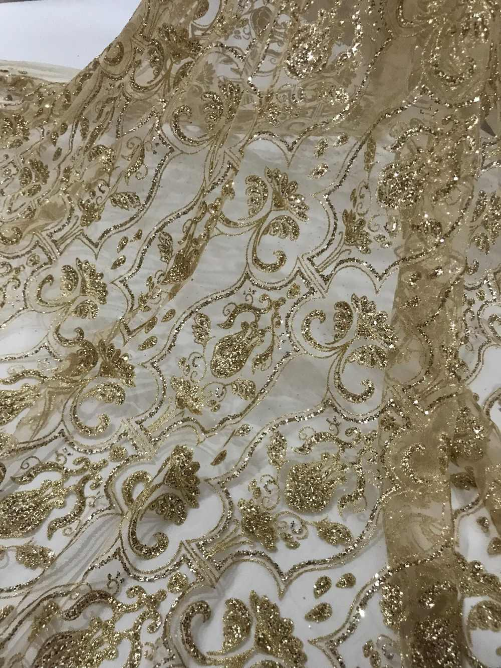 Top qualität yaking-62516 glitter print tüll mesh spitze für sägen/party/hochzeit