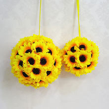 Wedding Artificial Silk Sunflower Kissing Ball Flower Pomander Bouquet Ball Home Decorative Balls Best Price(China)