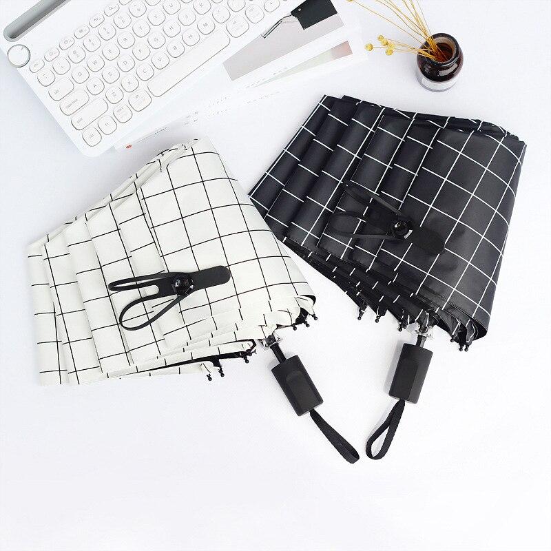 high quality Nordic style Plaid folding umbrella men women rain umbrella Nylon Pongee sunny rainy umbrella outdoor travel supply