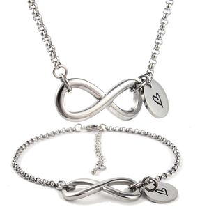 Infinity Charm Link Bracelet & Necklace Jewelry Set for Women Gift Stainless Steel Elegant Endless Love Valentine Anniversary