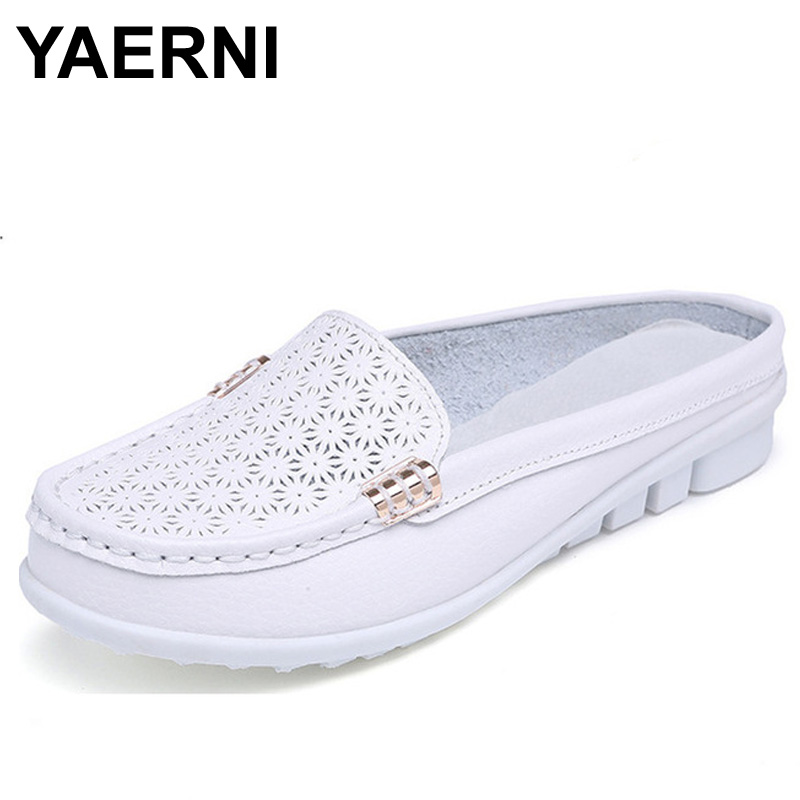 YAERNI solid genuine   leather   women shoes summer sandals women slippers top quality flip flops slides flats sandals for woman