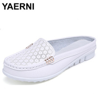 YAERNI Solid Genuine Leather Women Shoes Summer Sandals Women Slippers Top Quality Flip Flops Slides Flats
