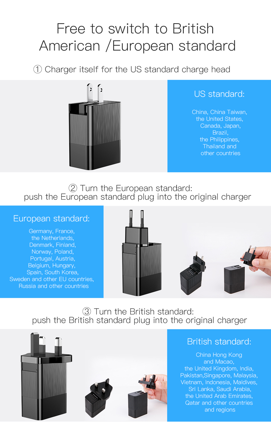 ASTROSOAR Baseus 3 Port USB Charger 3 in 1 EU US UK Plug 2.4A Adapter
