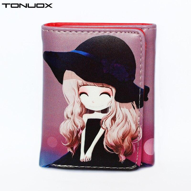 New Cartoon Printed Womens Wallets Small Zipper Coin Purse Pocket Mini Cute Girls Wallet Cards ID Holder Ladies Purses Women Bag