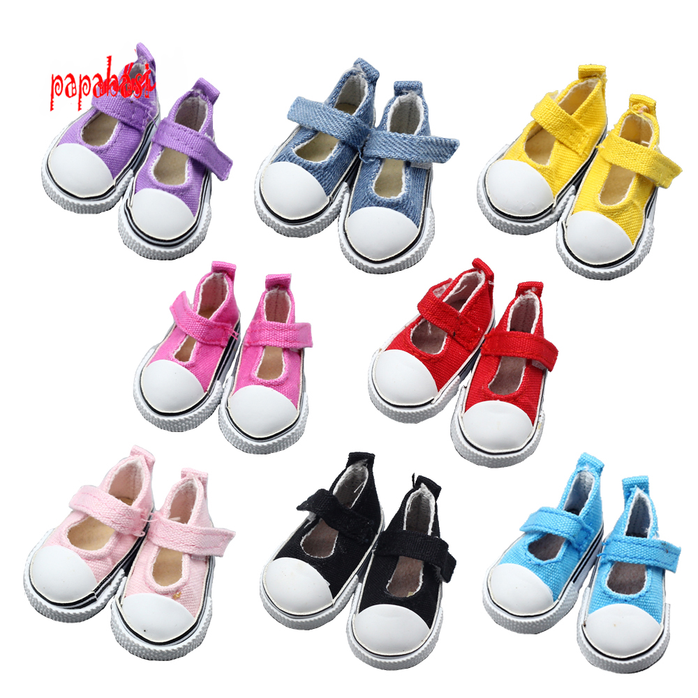 Papabasi Fashion 1Pair 5cm Canvas Shoes For 1/6 BJD Doll Fashion Mini Toy Shoes Bjd Shoes for Russian Doll shoes beioufeng 3 8cm fashion doll shoes for blythe doll toy mini gym shoes sneakers for dolls bjd doll footwear sports shoes 6 pair