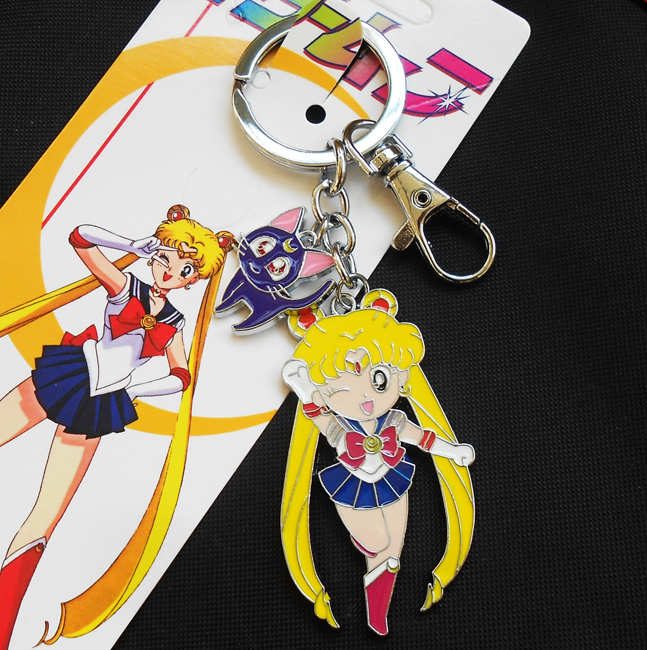 1 Piece Cute Janpanese Anime Sailor Moon Keychain Key Ring Luna Cat Figure Gift 7 Styles Costume Props