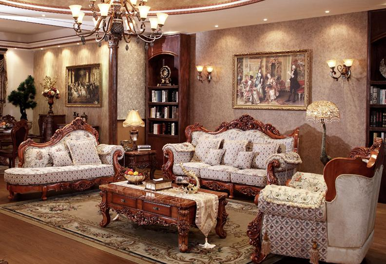 French Style  Fabric Sofa Sets Living Room Furniture,antique Style Wooden Sofa From Foshan Market