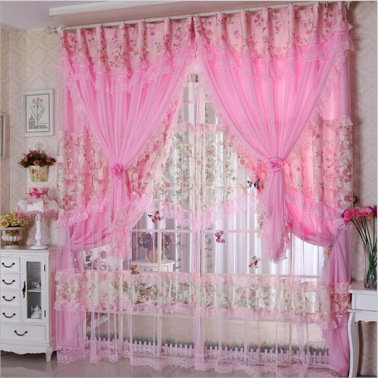 Hot Sale 3 Lays Lace Luxury Curtains For Living Room Girls Pink ...