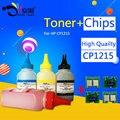 Pacotes! importação de toner cp1215 pó + qualidade premium cp1215 chips de cartuchos compatíveis para hp 1215 1312 1415 1515 1518 printer cb540a