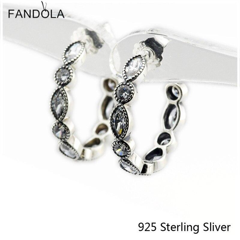 CKK 925 Sterling Silver Alluring Brilliant Marquise Náušnice Originální Evropský styl DIY Módní šperky