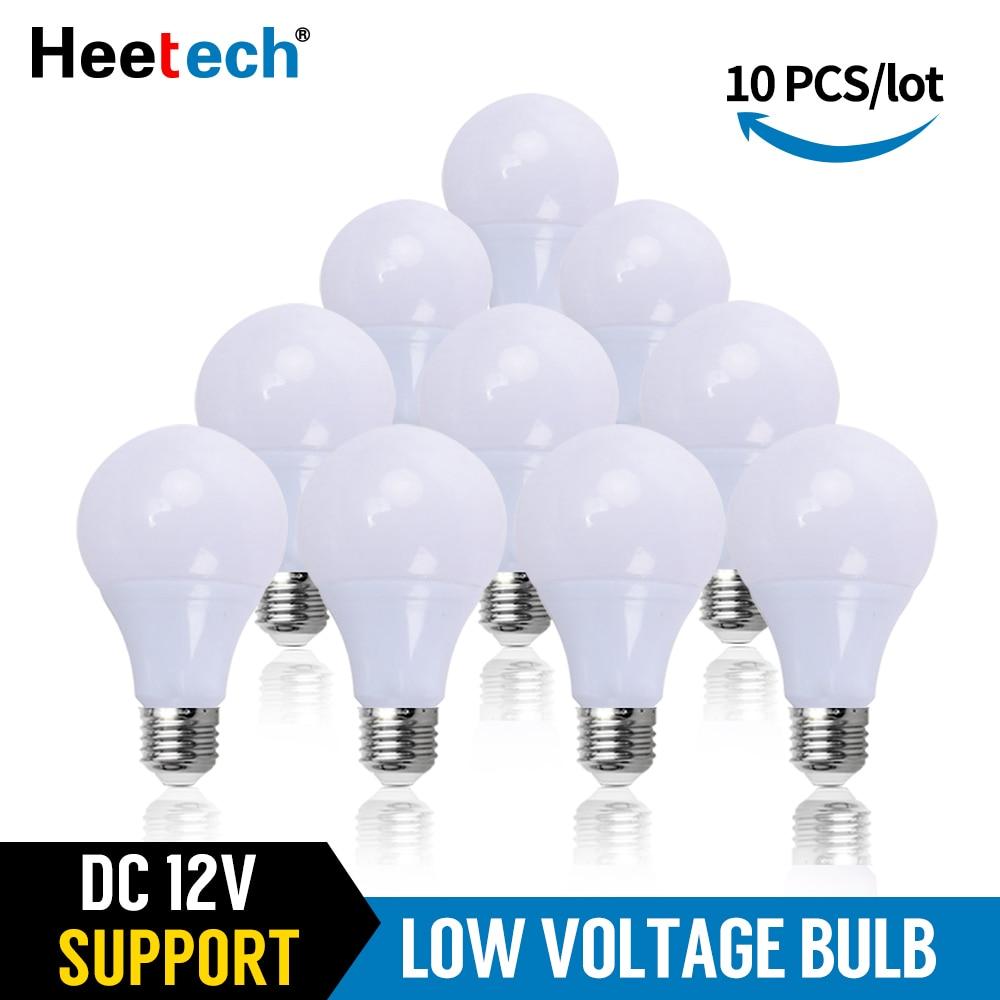 10 Pcs/lot LED Bohlam DC 12 V Lampu E27 Lampu LED Lampada 3 W 5 W 7 W 12 W 15 W 36 W Bombillas Lampu LED untuk 12 Volt Tegangan Rendah Lampu