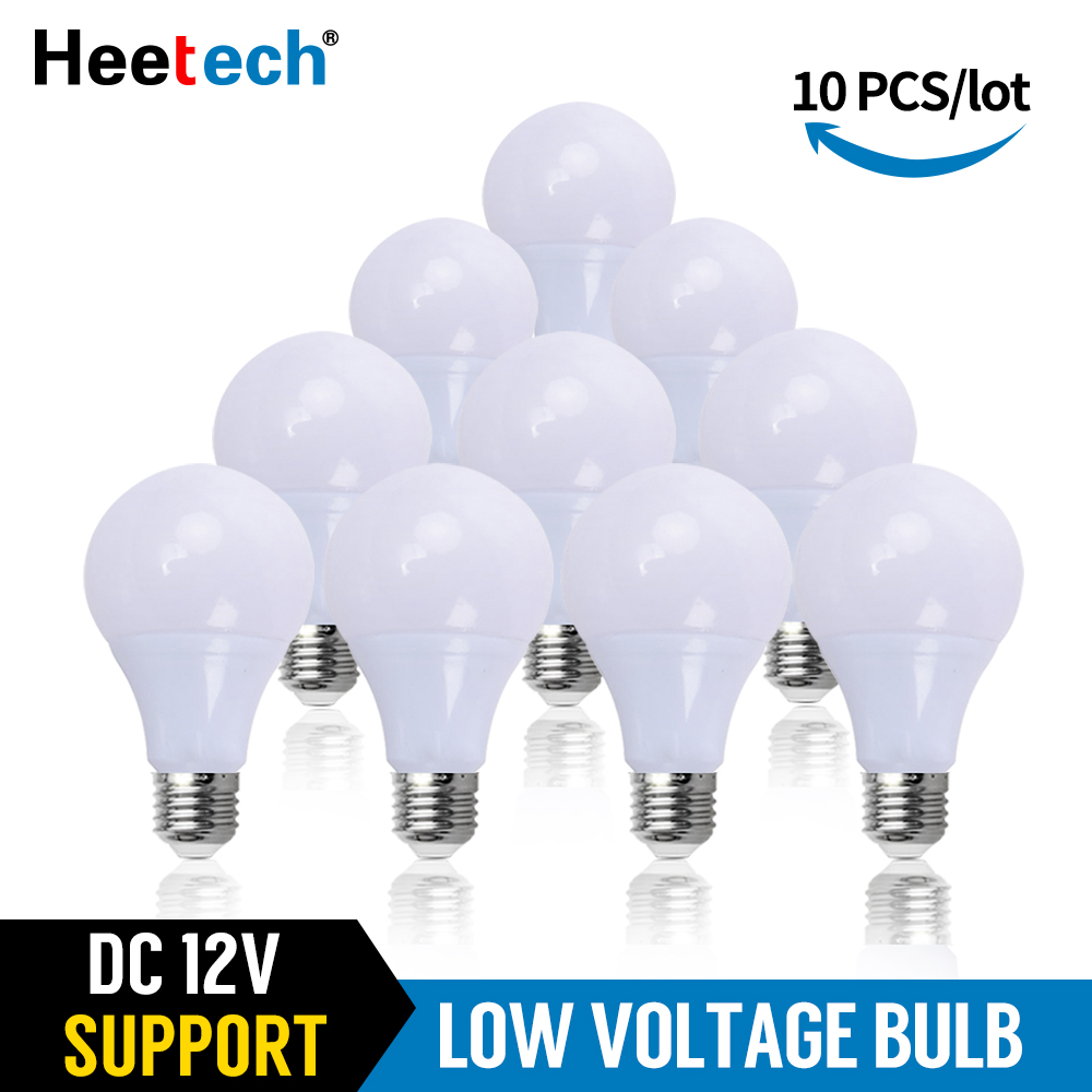 10 pçs/lote Lâmpada LED DC 12 V Lâmpada E27 Luz LED Lampada 3 W 5 W 7 W 12 W 15 W 36 W Bombillas Conduziu a Iluminação Para 12 Volts de Baixa Tensão Lâmpadas