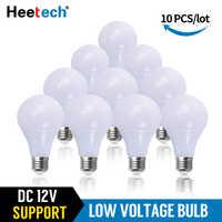 10 unids/lote bombilla LED cc 12 V lámpara LED E27 luz Led de 3W 5W 7W 12W 15W 36W bombilla LED para Bombillas de baja tensión de 12 voltios