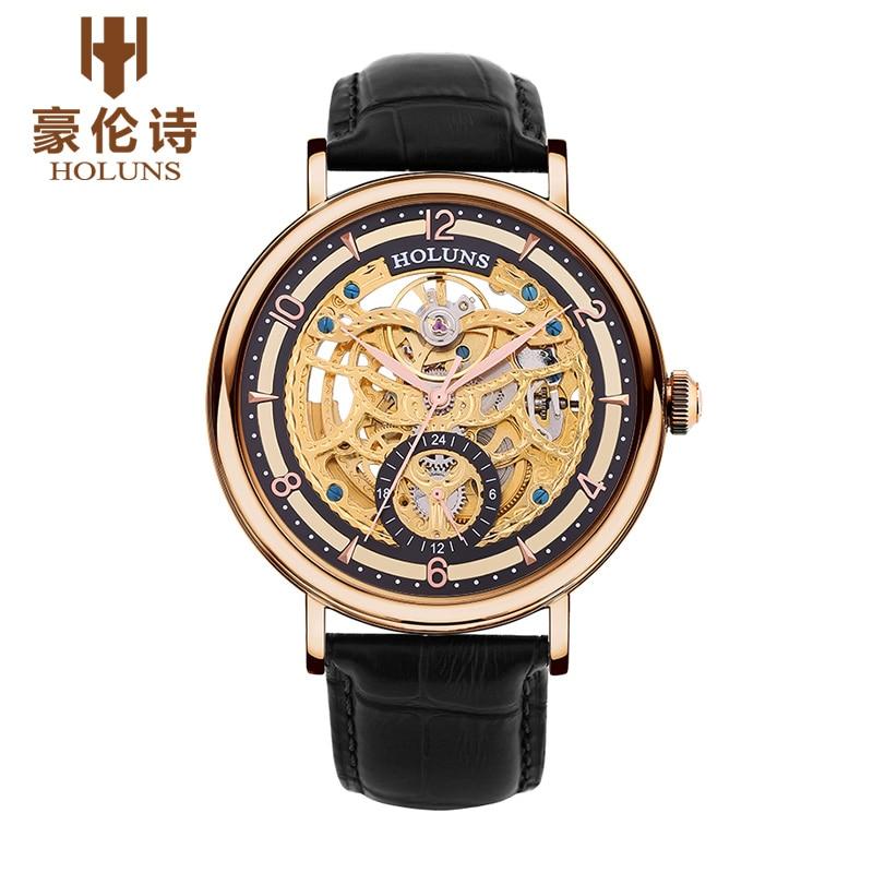 원래 새로운 holuns 남자 자동 기계 사파이어 중공 시계 캐주얼 방수 망 손목 시계 relojes relogio masculino-에서기계식 시계부터 시계 의  그룹 2