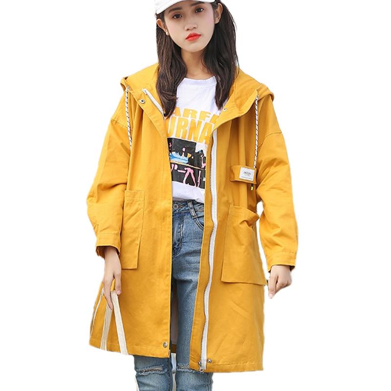 Autumn Loosen Long Jacket Women Hooded Windbreaker Women Coat Spring Women Casual Bomber Jacket College Womens Jacket Large