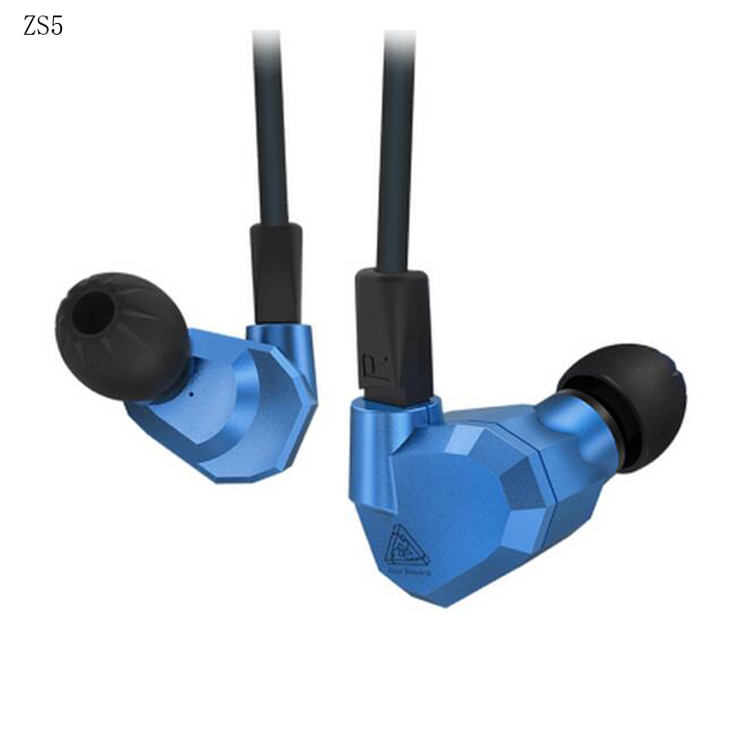 KZ ZS5 Double Hybrid in ear running Sport Earphone Four Driver Headset Noise Isolating headset HiFi Earbuds free shipping kz zs6 earphones 2dd 2ba 8 drivers hybrid in ear stereo sport headset suitable hifi noise isolating monitor headphones zs5 pro