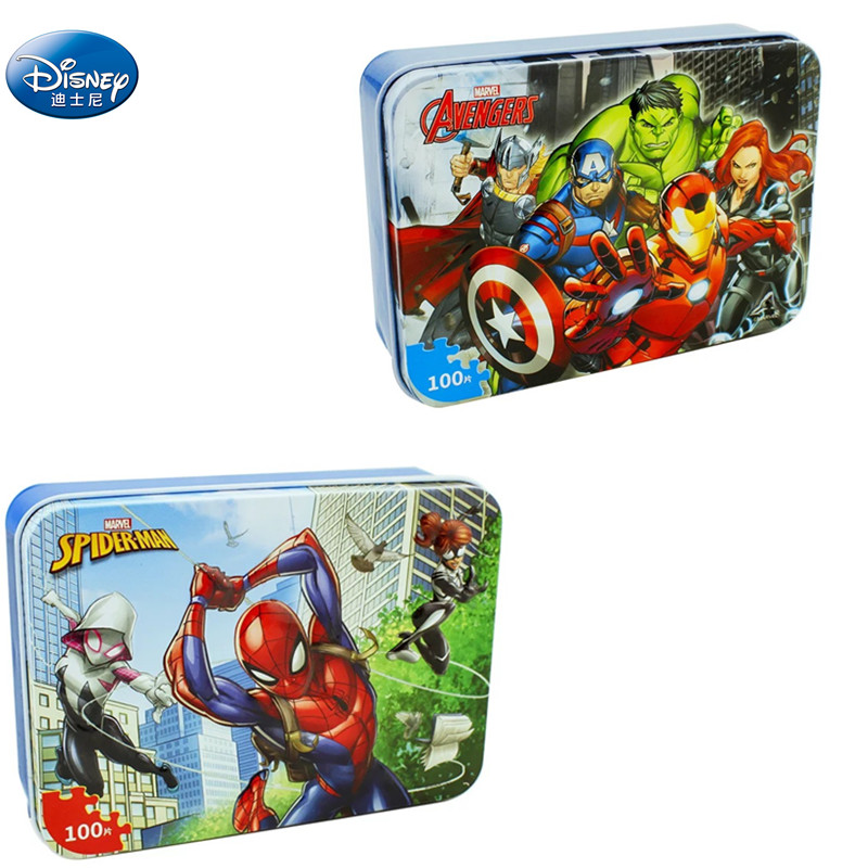 Cars Disney Pixar Cars 100 Piece Princess Frozen Mickey Mouse Wooden Box Puzzle Early Education Children Bottom Box Puzzle Toys
